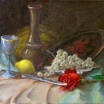 Натюрморт Нож и роза,50х35,холст,масло,1993 г.