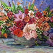 Натюрморт Цветы в вазе,70х50,холст,масло,2005 г. В частной коллекции.