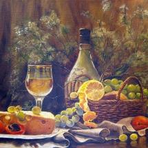 Натюрморт Вино и виноград,50х40,холст,масло,2014 г. ц.20000 р.