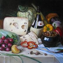 Натюрморт с вином и сыром,60х50,холст,масло,2014 г.В частной коллекции.