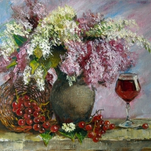 Натюрморт Сирень и виноград,50х40,холст,масло,2015 г. Продана.