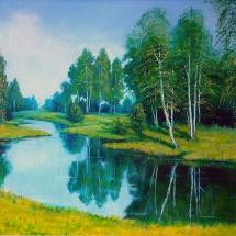Пейзаж Белые красавицы,80х60,холст,масло,2012 г.Продана