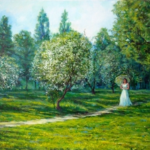 Пейзаж Прогулка по саду,70х50,холст,масло,2013 г. Продана