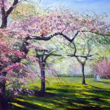 Пейзаж Цветущая весна,90х60, холст, масло,2013 г.