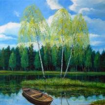 Пейзаж Весенние грации,80х50,холст,масло,2012 г. Продана