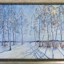 Пейзаж Зимнее солнце,70х50,холст,масло,2005г. В частной коллекции.