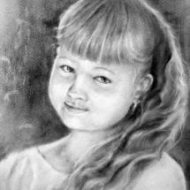 Портрет девочки,30х40, сухая кисть