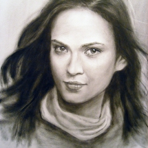 Портрет девушки,30х40,сухая кисть