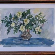 Натюрморт Чайная роза 25х15,картон ,масло,2006г. В частной коллекции.