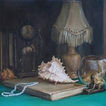 Натюрморт с морской раковиной,70х50, холст,масло,2013 г.