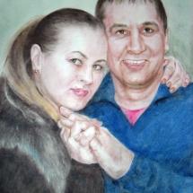 Портрет парный,50х60,сухая кисть
