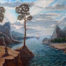 Исторический пейзаж Путь варягов,69х48,5,холст,масло,1997 г. ц.18000 р.