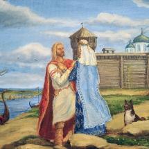 Историческая картина Расставание, 40х30,холст,масло,2013г, в частной коллекции