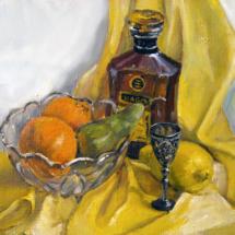 Натюрморт Шабо и фрукты,40х30,холст,масло,2011 г.