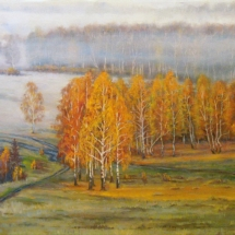 Пейзаж Осенний туман,70х50,холст,масло,2016 г, ц.15000 р.