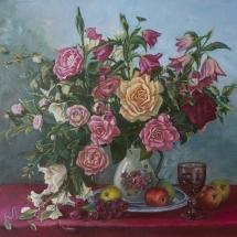 Натюрморт с желтой розой, 65х50,холст, масло, 2018г. ц.25000 р.