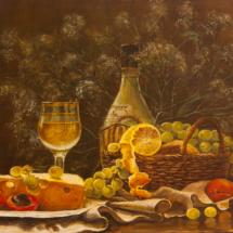 Натюрморт Вино и виноград .холст,масло,55х40, 2014 год