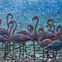 Интерьерная картина Розовые птицы, холст,масло,80х50,2020 год.