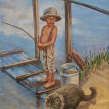 Картина Рыбаки, холст,масло,30х40,2020 г.