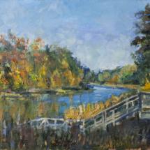Пейзаж Осень на реке, холст,масло,35х25,2020 г.