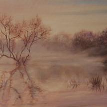 Пейзаж Туман на реке, х.м,60х40, 2021 год